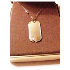 Old Stock Dog Tag Pendant Necklace