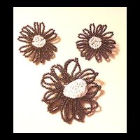 Black and White Glass Beads Pin and Earrings