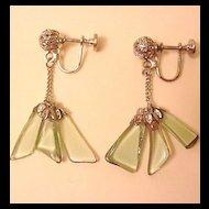 Pale Green Glass Earrings