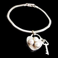Heart Lock and Key Charm Bracelet