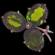 Antique Green Rhinestone Clover Pin