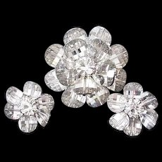 Vendome Crystal Pin and Earrings
