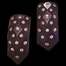 Bakelite and Rhinestone Dress Clip Pair
