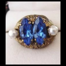 Vintage Brass and Blue Glass Ring