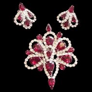 Ruby Red Rhinestone Pin and Earrings