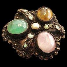 Silver and Quartz Pin Pendant