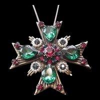 Bejeweled Rhinestone Maltese Cross Pin Necklace