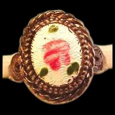 Sterling Silver Enameled Rose Ring