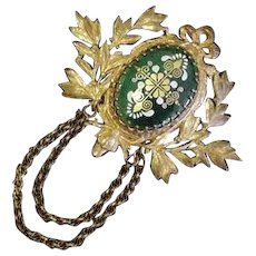 Miriam Haskell Brass and Green Enamel Pin