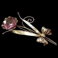 Retro Modern Sterling and Pink Glass Pin