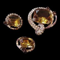 Fiery Topaz  Rhinestone Pin and Earrings