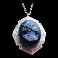 Big Beautiful Brass and Glass Cameo Locket Necklace