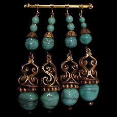 Miriam Haskell Turquoise Glass Pin
