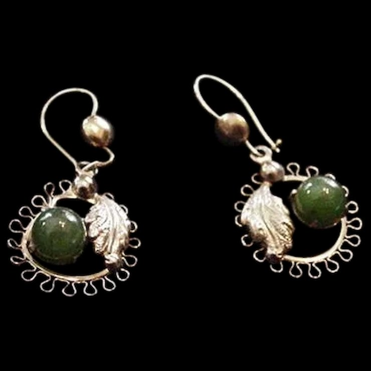 Soro Sterling Silver And Jade Earrings