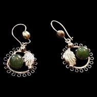 Sorrento Sterling Silver and Jade Earrings