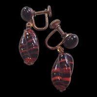 Tiger Stripes Art Glass Earrings