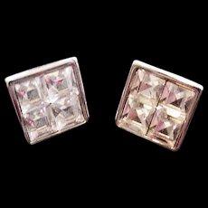 Swarovski Invisibly Set Rhinestone Earrings