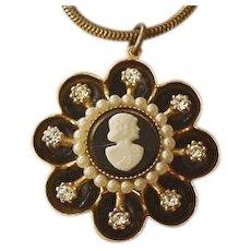 Coro Rhinestone Cameo Necklace