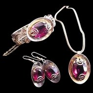Victorian Revival Red Rhinestone Necklace Bracelet Earrings