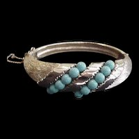 Blue Bead Hinged Bangle Bracelet