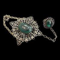 Brass and Glass Ring Bracelet Combo