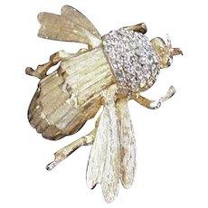 Rhinestone Bumblebee  Bee Pin