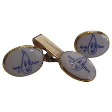 Handy Flame Advertising Cufflinks and Tie Clasp