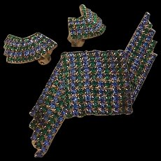 Green and Blue Rhinestones Pin Earrings
