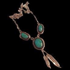 Sterling Turquoise Navajo Necklace  Leonard - Marian Nez