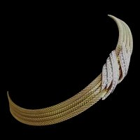 Trifari Choker Necklace Pave Rhinestone Element and Clasp