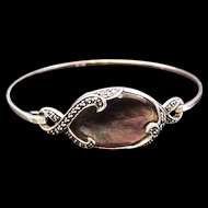Sterling Silver Smokey Abalone Marcasite Hinged Bracelet