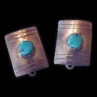 Sterling Silver Turquoise Clip on Earrings Vintage Marked MS