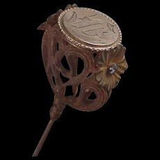 Art Nouveau Hat Pin 9 Inches Brass