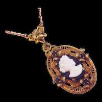 Cameo Lavalier Necklace Black Glass Vintage