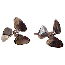 Sterling Silver Propeller Earrings Vintage