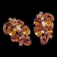 Trifari Topaz Rhinestone Vintage Earrings