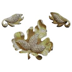 Pave Rhinestone Vintage Leaf Pin and Earrings Ledo