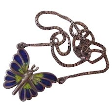 Sterling Silver Enameled Vintage Butterfly Necklace
