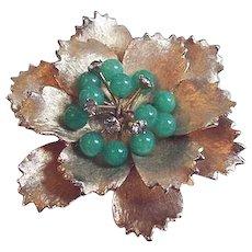 Green Glass Flower Pin