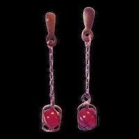 Sterling Silver Carnelian Dangle Pierced Earrings
