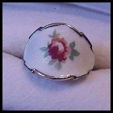 Enameled Rose Vintage Ring