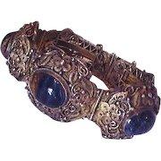Chinese Filigree Silver Eagle's Eye Stones Vintage Bracelet