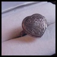 Sterling Silver Engraved Locket Ring