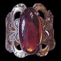 Brass and Amber Glass Vintage Rhinestone Ring