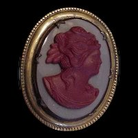 Glass and Brass Old Vintage Cameo Pin