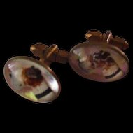 Reversed Carved Glass Terrier Vintage Cufflinks