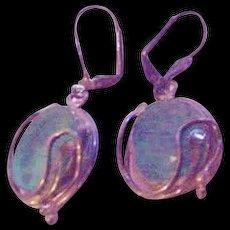 Sterling Silver Vintage  Aqua Earrings
