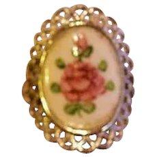 Sterling Silver Enameled Rose Vintage Ring