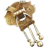 Victorian 14k Gold Seed Pearl Articulating Pin