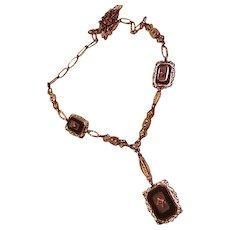 Art Deco Sterling Silver Rhinestone Vintage Necklace